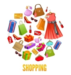 Shopping Round Compositions vector image vector image