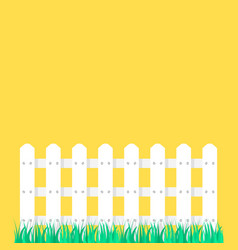 white fence garden on green grass vector image