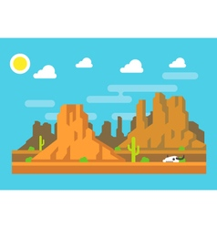 Wild west Arizona mountain flat design vector image