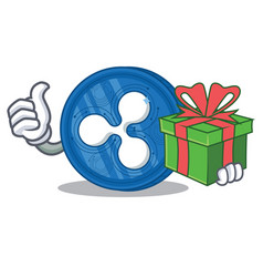with gift ripple coin character cartoon vector image vector image