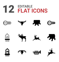 12 horn icons vector image