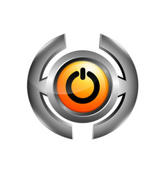3d logo chrome power button turn off icon vector image