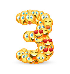 a set of emoticons shaped as three number vector image