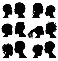 African female and male face silhouettes vector