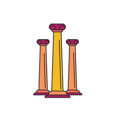 ancient columns icon cartoon style vector image