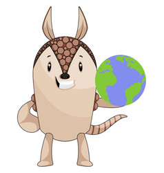 armadillo with planet earth on white background vector image