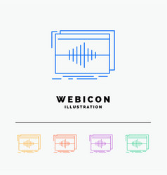 Audio frequency hertz sequence wave 5 color line vector