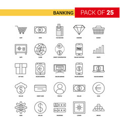 banking black line icon - 25 business outline vector image
