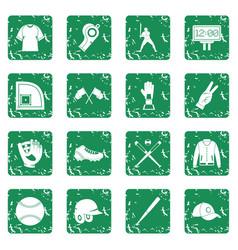 Baseball icons set grunge vector