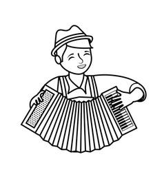 Bavarian man with accordion portrait vector