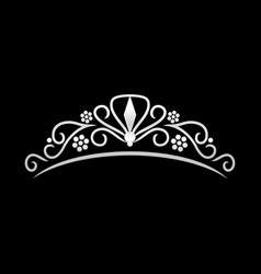 Beauty silver tiara crown design vector