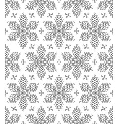 black and white flourish snowflakes seamless vector image