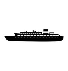 Black silhouette cruise ship design vector