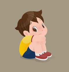 Boy sitting crying vector