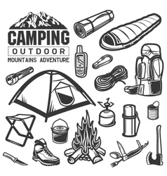 Camping and hiking equipment symbols Tent logo vector