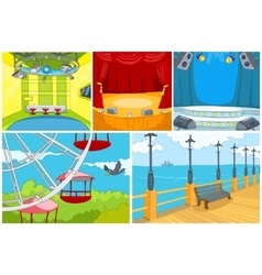 cartoon set of theater and park background vector image