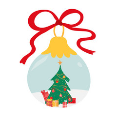 christmas tree with presents inside glass ball vector image
