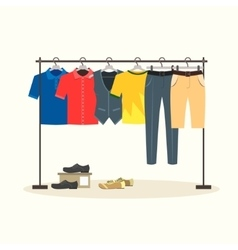 Clothes Racks with Menswear on Hangers vector image