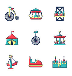 Colored circus icons set flat style vector