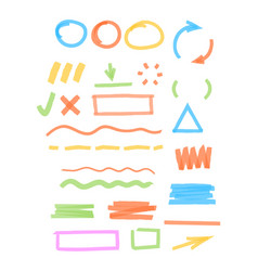 Colored marker highlights drawing strokes vector