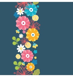 Colorful oriental flowers vertical seamless vector image vector image