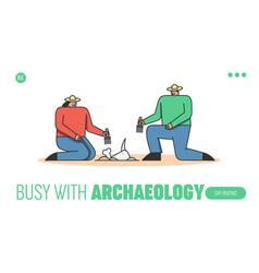 Concept of archeology excavation website landing vector