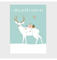 Cute Christmas greeting card invitation Reindeer vector image vector image