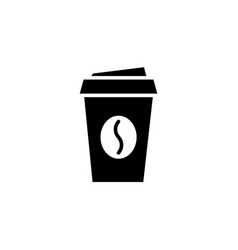 disposable coffee cup black icon on white vector image