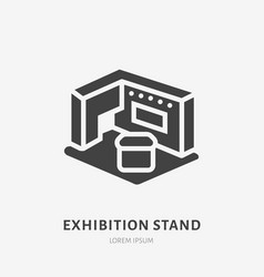 Exhibition banner stand flat glyph icon trade vector