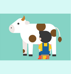 Farmer milking cow flat design vector