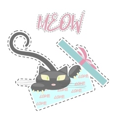 Fashion patch badges with Kitten vector