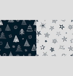 fir tree stars pattern christmas new year vector image