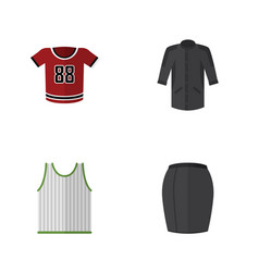 Flat dress set of uniform t-shirt stylish vector