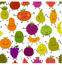 funny fruits seamless pattern for your design vector image