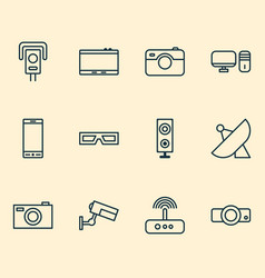 gadget icons set with projector photo apparatus vector image