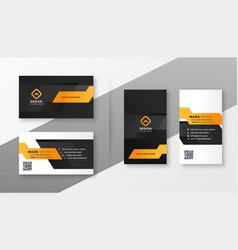 Geometric orange business card template vector