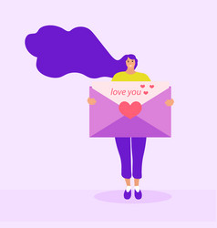 girl holds a love letter mail valentines day vector image