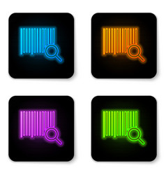 Glowing neon search barcode icon isolated on white vector