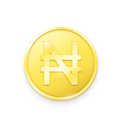 Gold coin with naira sign vector