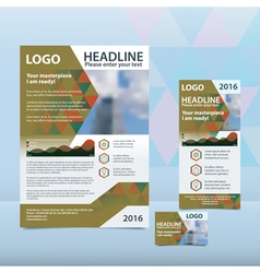 Green annual report with the pattern of triangles vector