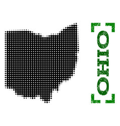 Halftone map of ohio state and grunge caption with vector
