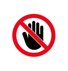 Hand forbidden stop icon warning symbol vector