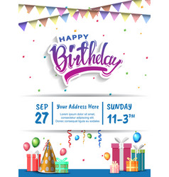 Happy birthday with colorful text birthday vector