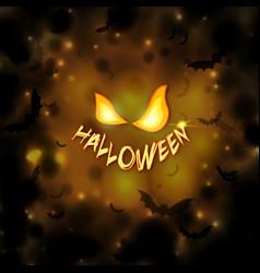 happy halloween background with pumpkin eyes vector image