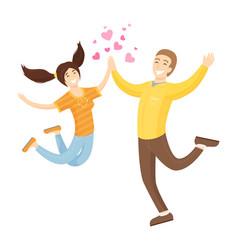 Happy lovers merrily jump boyfriend and girlfriend vector