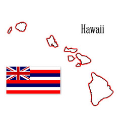 Hawaii state map and flag vector