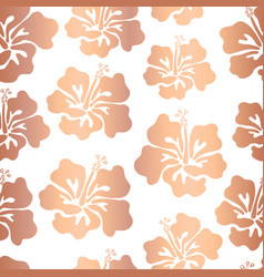 hibiscus flower rose gold copper foil pattern tile vector image