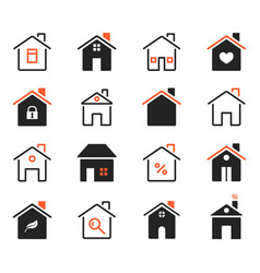 house icons exterior home images flat outlined vector image