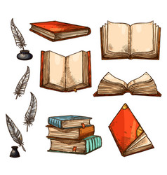Icons old books and manuscripts sketch vector