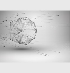icosahedron with connected lines and dots vector image